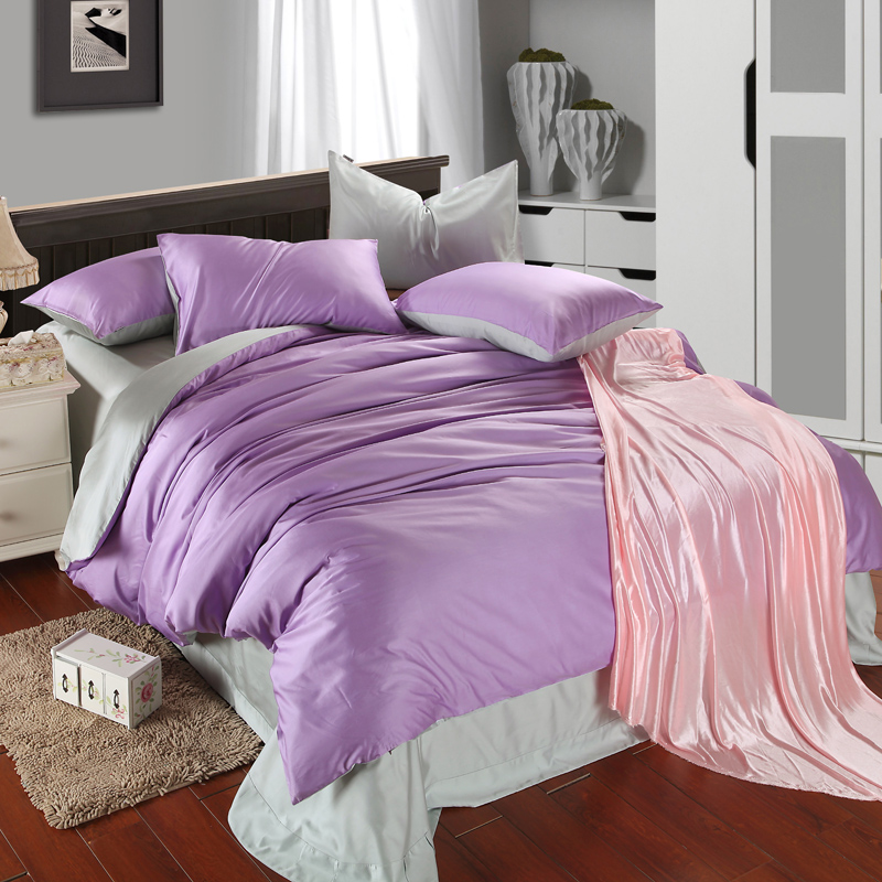 achetez en gros purple and gray comforter set en ligne des grossistes purple and gray. Black Bedroom Furniture Sets. Home Design Ideas