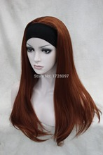 Ladies new sexy fashion fox red 3/4 Headband long straight women's half wig Heat Resistant queen Cosplay hair wigs fast deliver(China (Mainland))