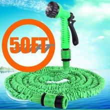Hot Free shipping 50ft Expandable Magic Watering hoses Garden Water Pipe with Spray Gun Drip irrigation Weapons mangueira Green(China (Mainland))