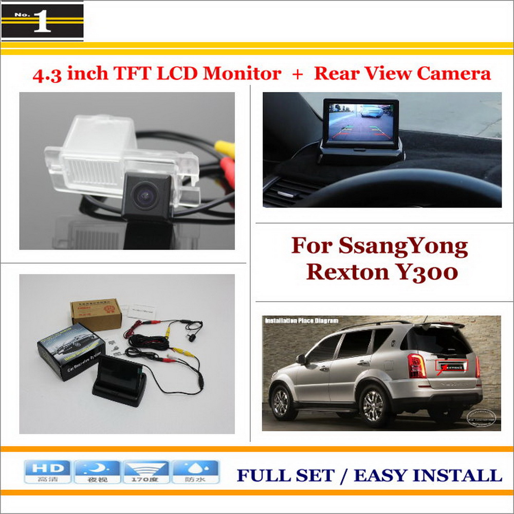 Car Rearview Camera + 4.3 LCD Screen Monitor = 2 in 1 Parking Assistance System - For SsangYong Rexton Y300<br><br>Aliexpress