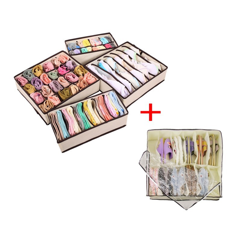 4PCS Foldable Storage Boxes Underwear Drawer Closet Organiser + 1 PCS Home Folding Under bed 12 Cell Storage Bag For Shoes(China (Mainland))
