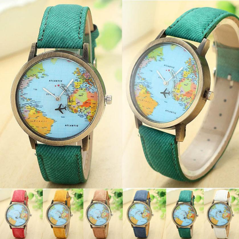 2016 Hot Sale Fashion Global Travel By Plane Map Women Dress Watches Denim Fabric Band Good-looking JUN 2(China (Mainland))