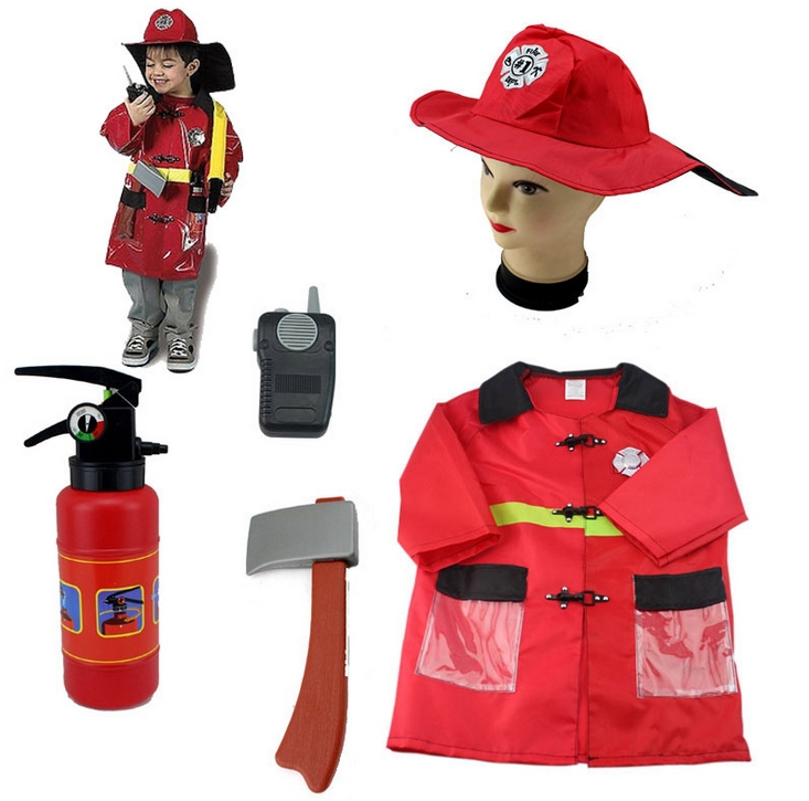 Boys Halloween Costumes Fireman Sets Cosplay Stage Wear Clothing Children Kids Halloween Party Clothes Free Drop Shipping New(China (Mainland))