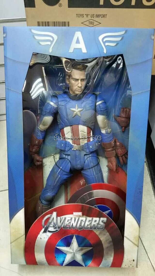 """Superhero Avengers Captain America Super Big PVC Action Figure Super Heroes Collectible Model Toy 18"""" 46cm EMS Free Shipping(China (Mainland))"""