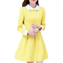 Vestiods 2015 New Autumn Cute Brief Korean Style Long Sleeve Peter Pan Collar Solid Color A-Line Mini Dress Dresses WQL2981(China (Mainland))