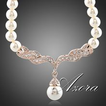 Fashion Imitation Pearl Love 18K Rose Gold Plated SWA ELEMENTS Austrian Crystal Jewelry Necklace FREE SHIPPING!(Azora TN0097)