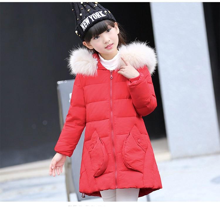 Скидки на Детские зимние 2016 новых девушек утолщаются пуховик длинные Корейских детская одежда большой мальчик пальто куртки верхняя одежда мех воротник