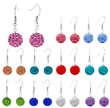 10mm white Black red purple clay lowest price hot new style Disco Ball Silver Plated drop crystal Shamballa Earrings gift(China (Mainland))