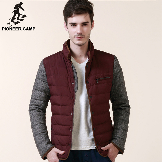 Pioneer Camp..2015 winter mens down jacket Белый duck down stand Воротник slim winter ...