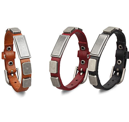 2016 Trendy magnetic buckle claps steel man leather belt bracelet,fashion unisex punk wristband cowhide wrap bracelet jewelry(China (Mainland))