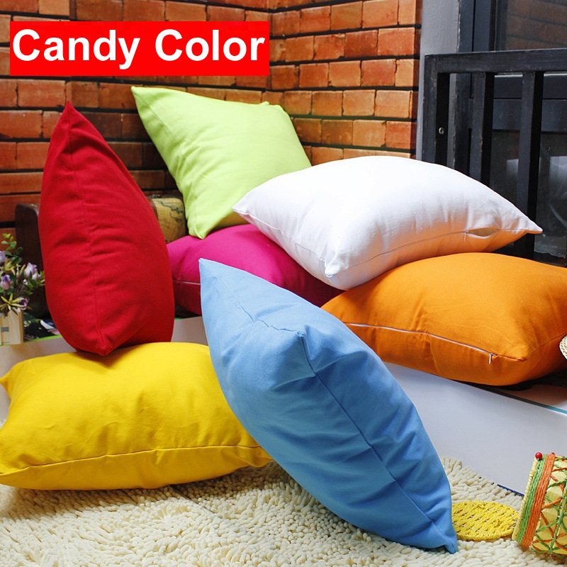 Candy Color Cushion Cover 7 styles 30X45cm 45X45cm 55X55cm Rainbow Custom pillow cover Pure Color pillow case Home car pillows(China (Mainland))