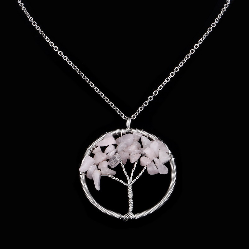 Wisdom Tree Necklaces Pink Crystal Stone Beaded Natural Stone Pendant Necklace Link Chains Christmas Gifts(China (Mainland))