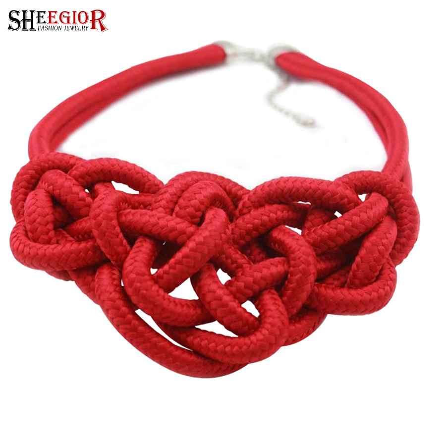 Fashion choker necklaces & pendants fine jewelry Hand thick rope weaving Fluorescent collier femme necklace women Accessories(China (Mainland))
