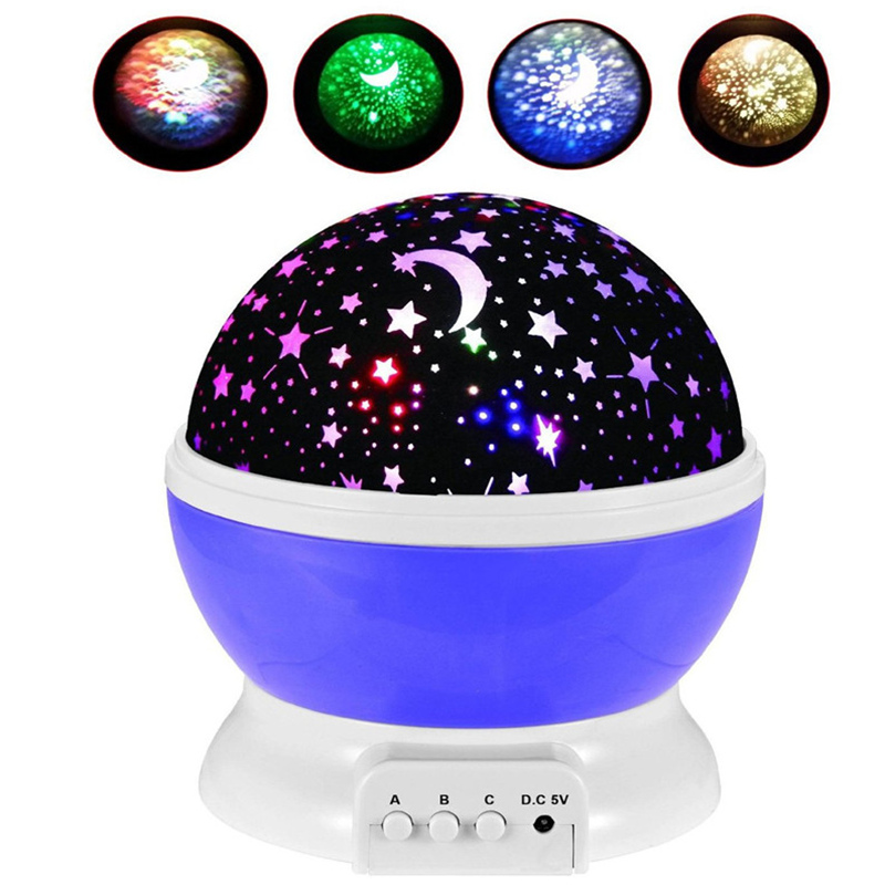100% Brand New Romantic Rotating Star Moon Sky Rotation Night Projector Light Lamp Projection with high quality Kid Bed Lamp(China (Mainland))