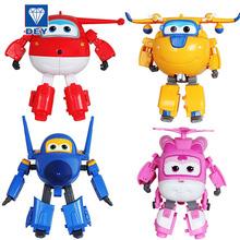 4pcs/set Super Wings Mini Planes PVC Deformation Airplane Robot Action Figures Transformation Toys Boys Birthday Gift Brinquedos