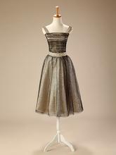 2016 Hot Models Gray None Skirt Upper Body Shape Striped Silk Fabric Bra Beaded Halter Princess Evening Dress(China (Mainland))