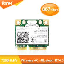Marke Neue Für Intel Dual band 7260 7260HMW 802.11ac Wireless AC + Bluetooth BT4.0 867 Mbps drahtlose wifi Hälfte Mini pci-e-karte(China (Mainland))