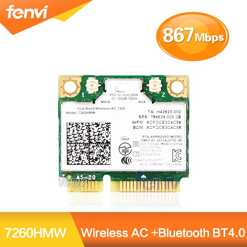 Brand New For Intel Dual band 7260 7260HMW 802.11ac Wireless AC +Bluetooth BT4.0 867Mbps wireless wifi Half Mini PCI-E card(China (Mainland))