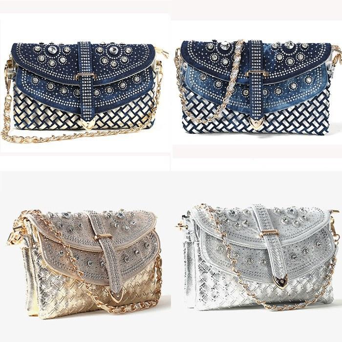 denim diamond weave fabric shoulder bag women fashion handbags retro woven ZB0075/K