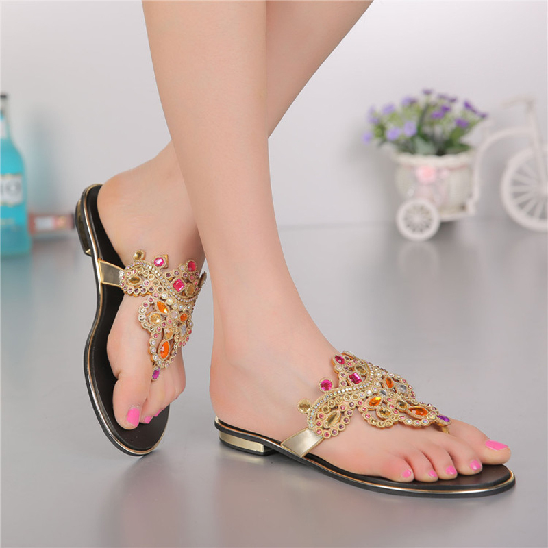 women shoes genuine leather casual Rhinestone flat slippers women slippers for women ladies Leisure Crystal slippers GS-L009GDC<br><br>Aliexpress