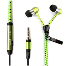 3.5mm In-Ear Metal Bass Zipper Earphones Headphones Sports Music Wired Earbud Headset With Microphone For iphone Samsung(China (Mainland))