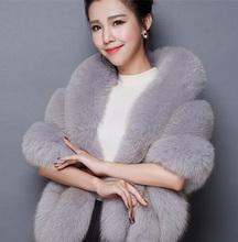 2015 Winter Faux Fur Coats Leather grass fox fur imitation mink fur poncho bridal wedding dress shawl cape women vest fur coat(China (Mainland))