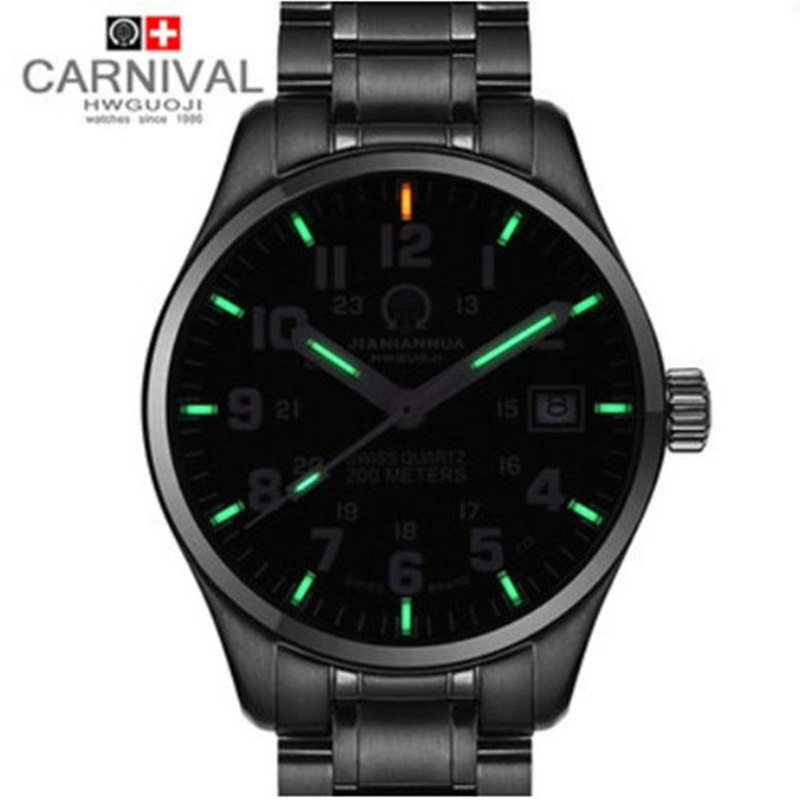 Carnival luminous watches commercial male waterproof military quartz steel strip mens watch