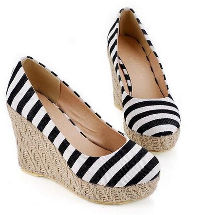 New 2015 Spring Navy Stripe Platform Wedges Ultra High Heels Shoes Womens Round Toe Elegant Straw Wedges Pumps Sapatos Feminino<br><br>Aliexpress