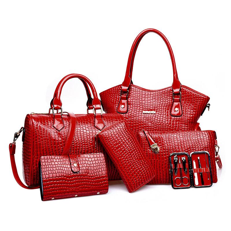 Фотография 2016 New Women Bag Pu Leather Leopard Bag Lady Handbag Crossbody Bag Handbag+Messenger Bag+Rse+Wallet 6 Sets/PCS