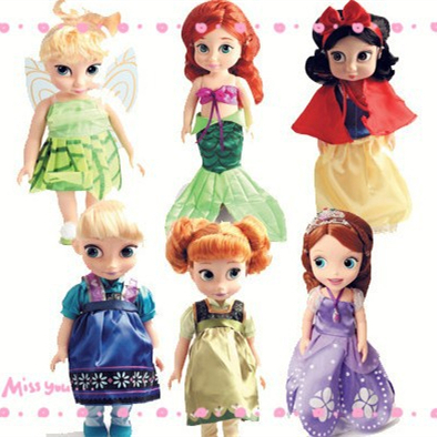 26cm Frozenned Anna Elsa Doll Cinderella Sofia Ariel Princess Snow White Baby Exquisite Doll The Mermaid Toys Kid Love #C(China (Mainland))