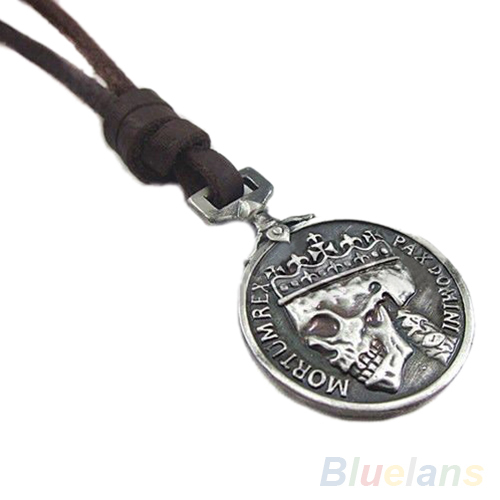Fashion Men's Charms Vintage Silver Skull Pendant Genuine Leather Necklace necklaces pendants 01M4(China (Mainland))