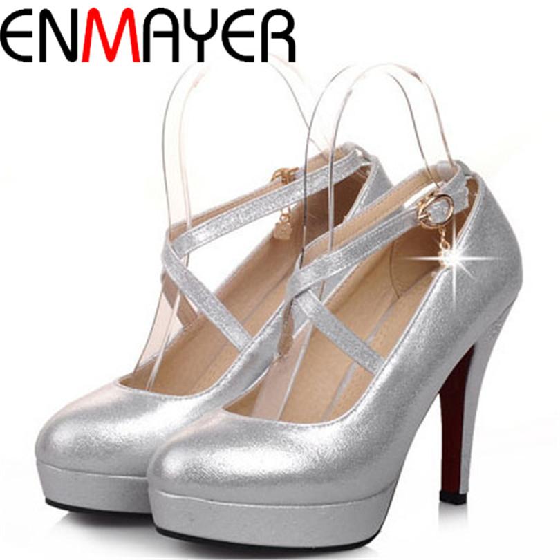 ENMAYER  fashion sexy Cross straps party wedding pumps round toe thin high heels shoes pumps solid Rhinestone women pumps