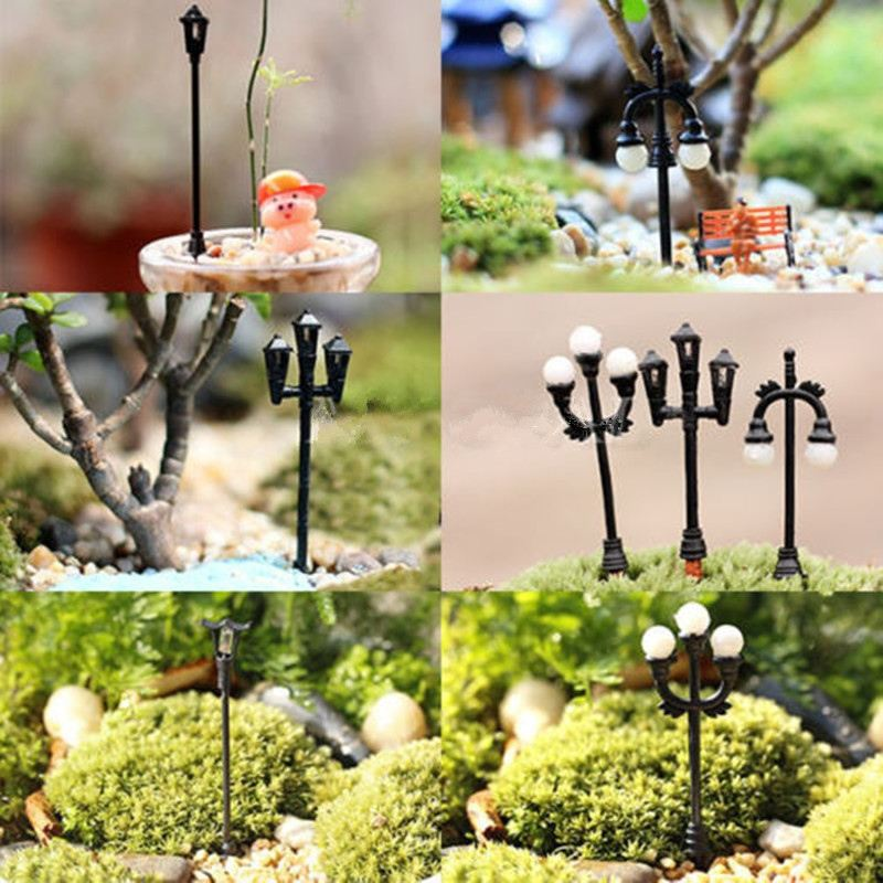 2016 Cute Garden Decor Mini Streetlights Miniature Garden Ornament for Plant Pots Fairy Crafts Garden Decor Free Shipping(China (Mainland))