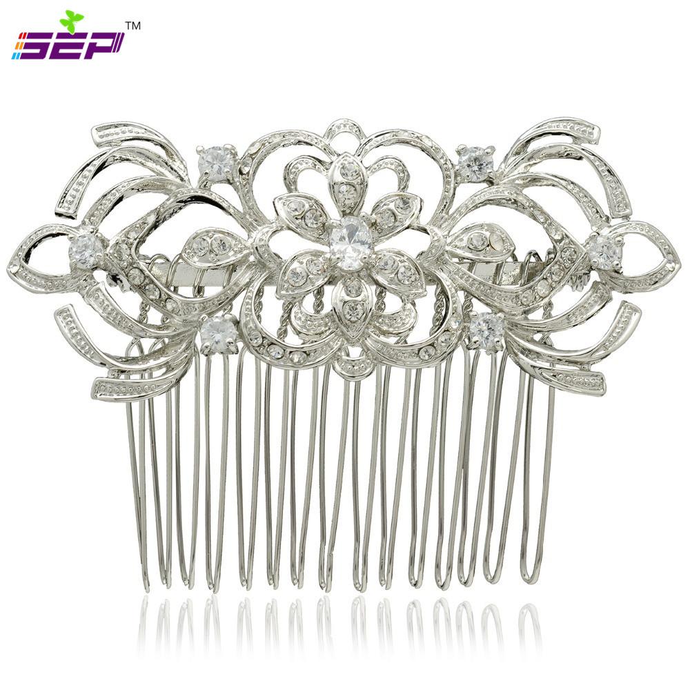 Bridal Hairpins Clear Crystals Rhinestone Hair Comb Women Wedding Hair Jewelry Accessories 4011R(China (Mainland))