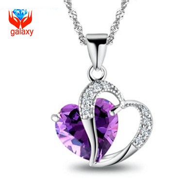2015 Trendy Jewelry 925 Silver Chain Necklace AAA+ Purple Cubic Zirconia Double Heart Pendant Necklace for Women ZNA26(China (Mainland))
