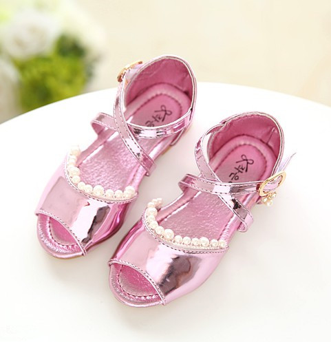 Summer new 2016 children princess sandals kids glitter girls shoes leather beading sandalias child casual beach little toddler(China (Mainland))
