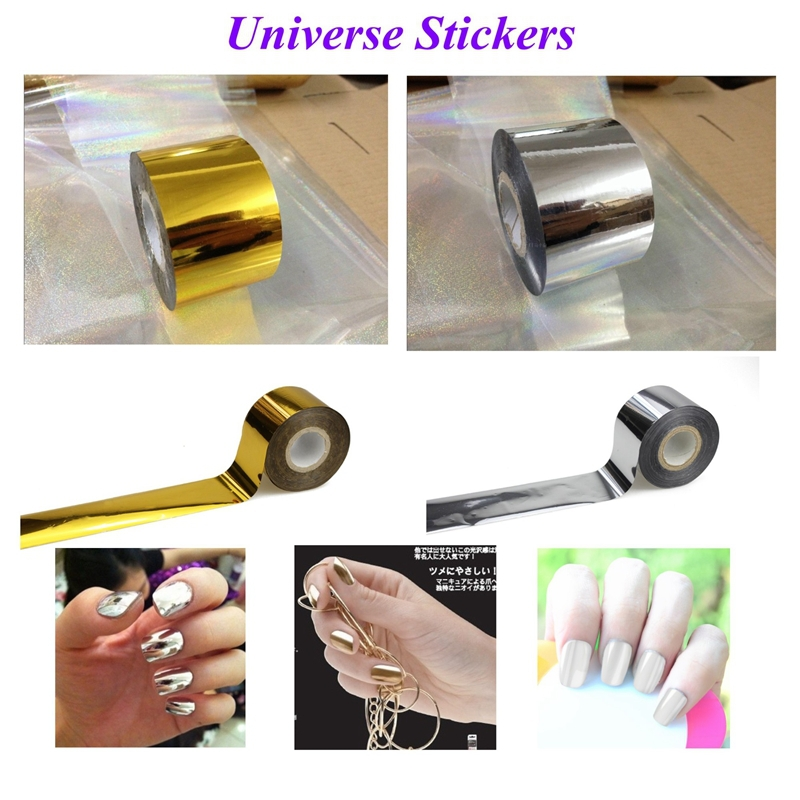 4cm*120m Gold Silver 2 Colors Fashion Transfer Foil Nail Art Stickers Decorations Universe Decals Nails Tools JH104(China (Mainland))