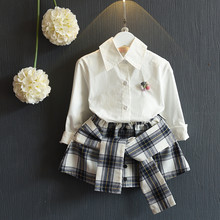 Buy Spring Plaid Girls Clothing Sets White Shirt+Bow Skirt Kids Girls Clothes Brand Children Princess Suit Casual Children's Set for $13.62 in AliExpress store