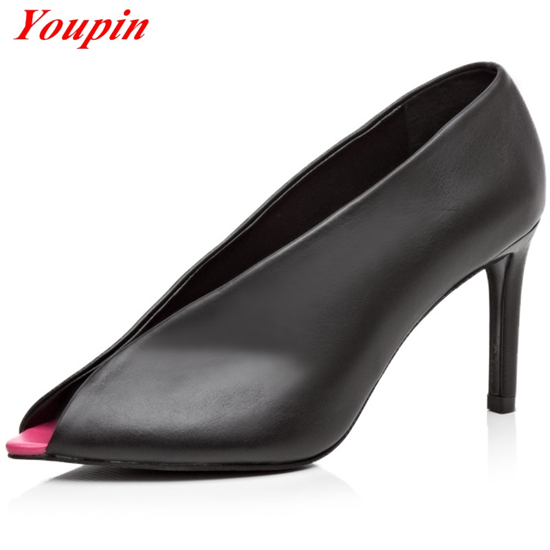 2016 Sheep Suede Full Grain Leather Two kinds fabric New shallow mouth Pointed Thin Heels The new pumps shoes trend woman 34-39