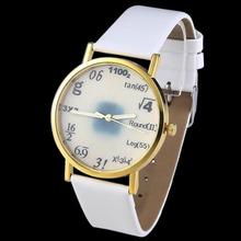 Nuevo blanco fórmulas matemáticas científica politécnica relojes de cuero artificial de pulsera de cuero de imitación vestido reloj
