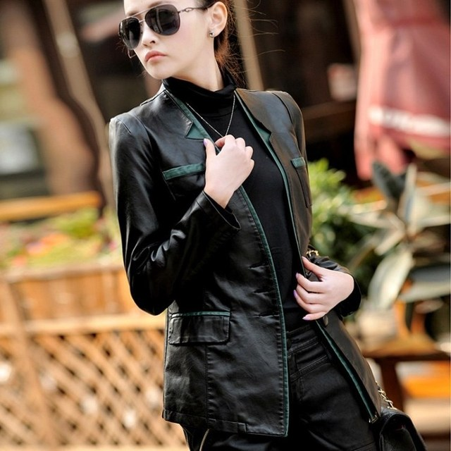 2014 Autumn Женщины Натуральная кожа Jackets Модный Back Split Three Кнопкаs Leather ...