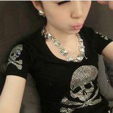 2015 Summer style Plus Size Women Clothing T-shirt Female Short Sleeve Cotton Diamond Skull T shirt Women M-5XL Rhinestone(China (Mainland))
