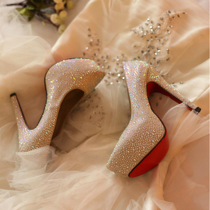 2015 Womens Genuine Leather Red Bottom Round Toe Platform Stiletto Ivory White Rhinestone Bridal Wedding Shoes Prom High Heels<br><br>Aliexpress