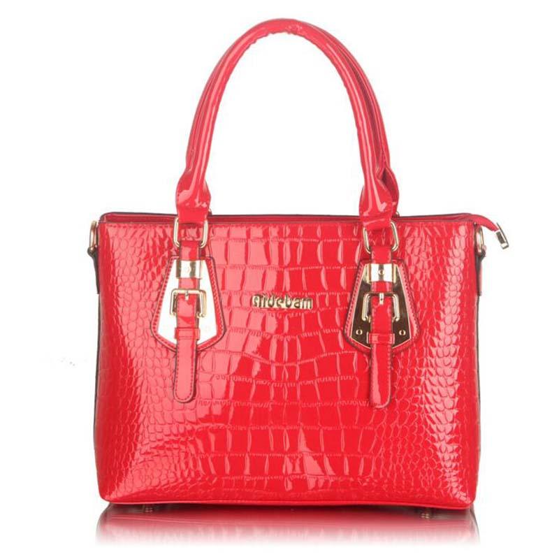 South Korea fashion The crocodile grain Patent leather handbag Single shoulder bag women handbag Ten kinds of color can choose(China (Mainland))
