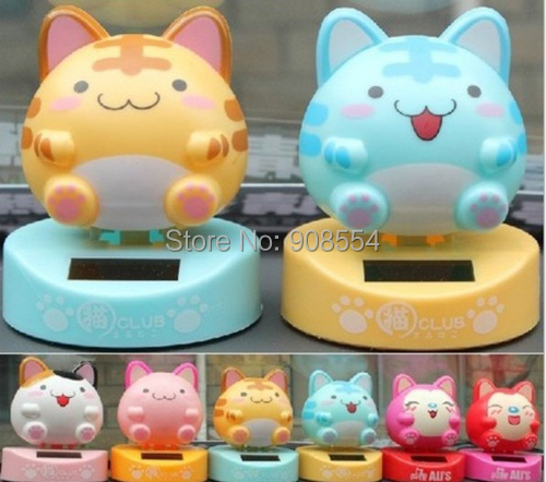 Wholesale 10Pcs Per Lot Swing Under Sunshine No Battery Novelty Cartoon Car Decoration Flip Flap Solar Powered Toys(China (Mainland))