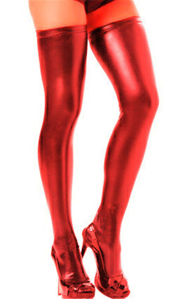 Adult Sexy Patent Leather Lace Silk Stockings Exotic Elastic Stocking ...