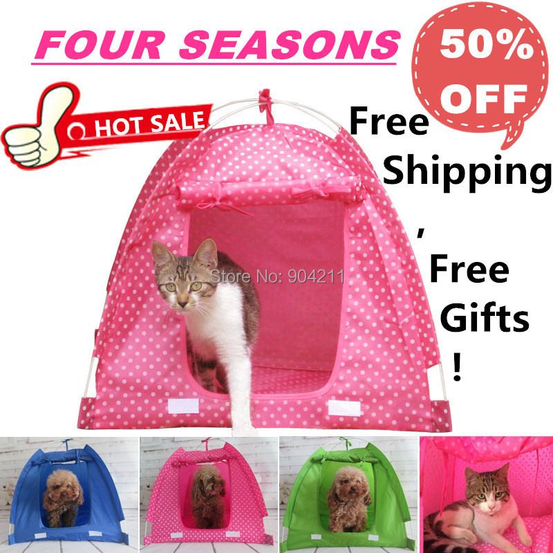 2016 HOT SALE Wave point Dog Tent Folding portable cat dog house pet house bed kennel cage free shipping+gifts(China (Mainland))
