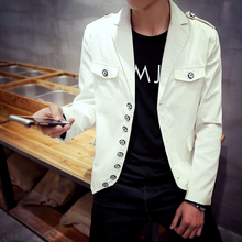 Latest Steampunk Retro Double Breasted Blazer Fashion Men Slim Jacket Black/white