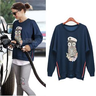 2014 women's Cotton loose o-neck sweatshirt zip hooded cartoon printed hoodies coat ladies Autumn winter - Honey Bee store
