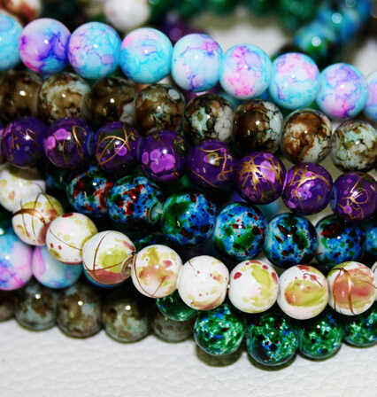2015 New Arrival 8MM 100pcs/lot Bead Round Assorted Colorful Glass Beads For Women Bracelet making Wholesale or Retail (BBD016)(China (Mainland))